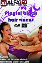 Playful black hair vixens